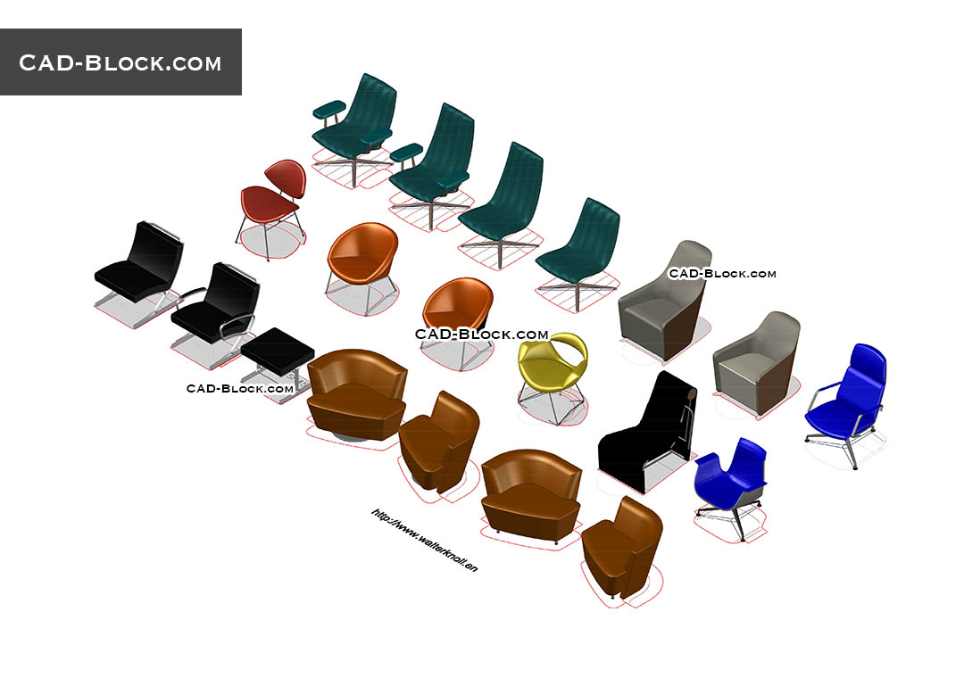 3D Furniture Armchairs - CAD Blocks, AutoCAD file