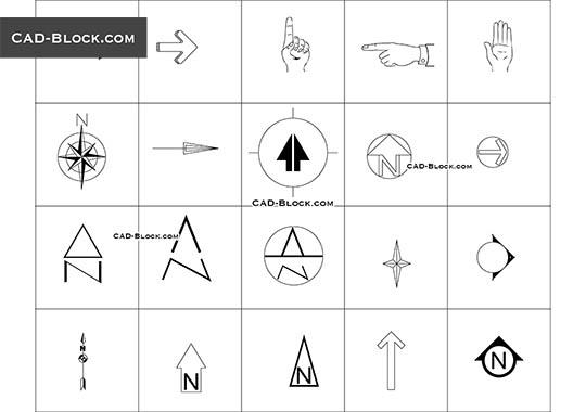 North Mark & Symbols - download free CAD Block