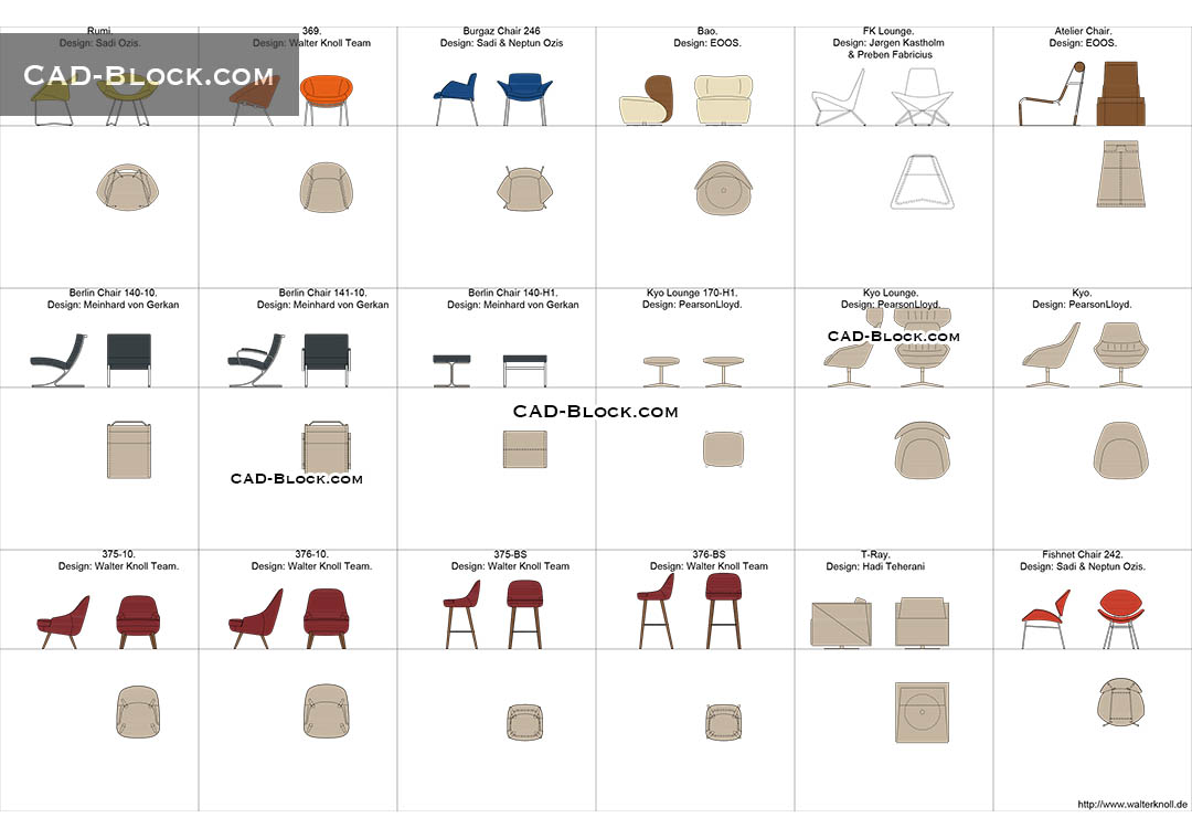 Designer chairs cad blocks autocad file