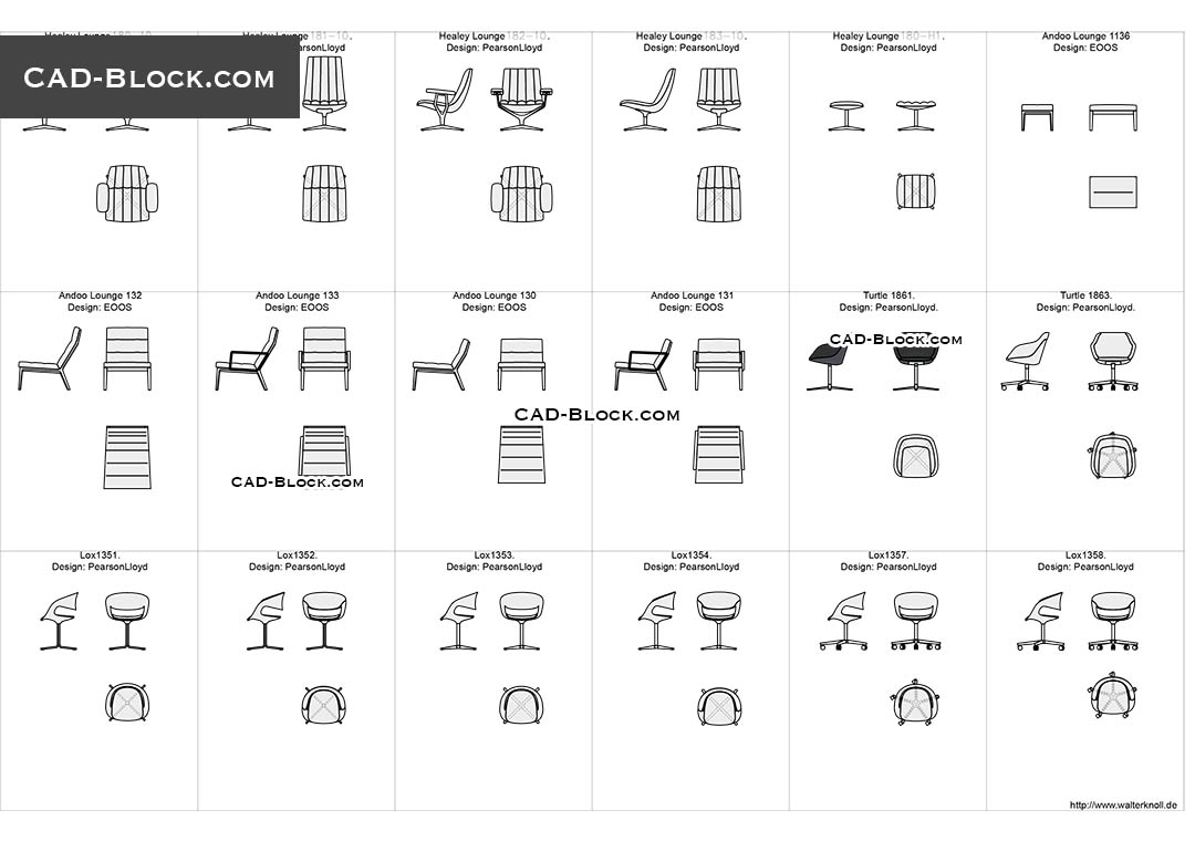 Designer Chairs 2 Free Autocad Blocks Cad File Download