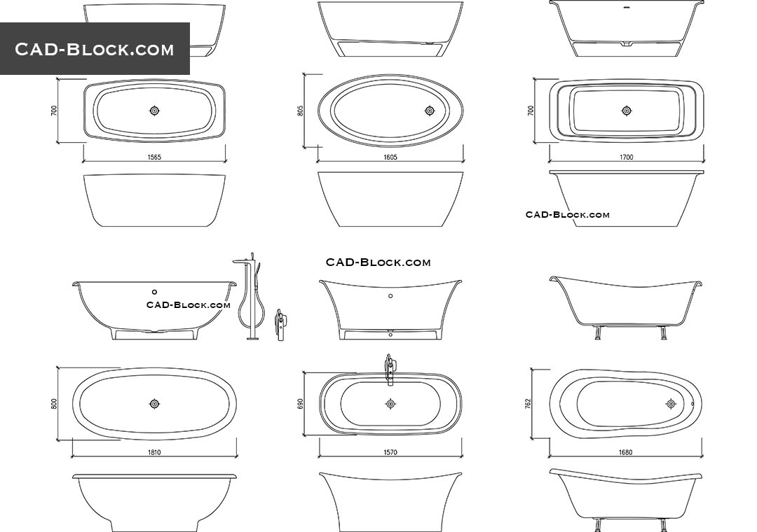 Freestanding Bathtubs - CAD Blocks, AutoCAD file