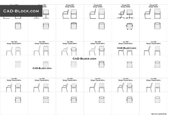 Designer Chairs 3 buy AutoCAD Blocks