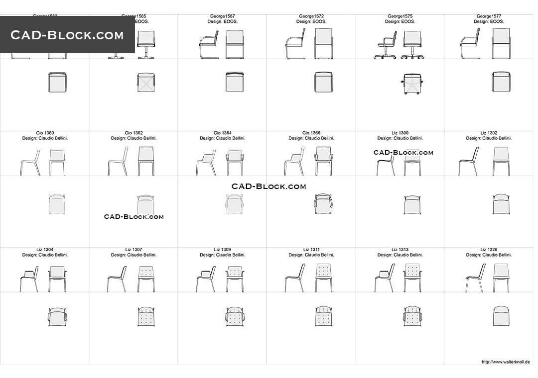 Designer Chairs 3 - CAD Blocks, AutoCAD file