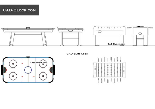 Table football & Air hockey - download free CAD Block