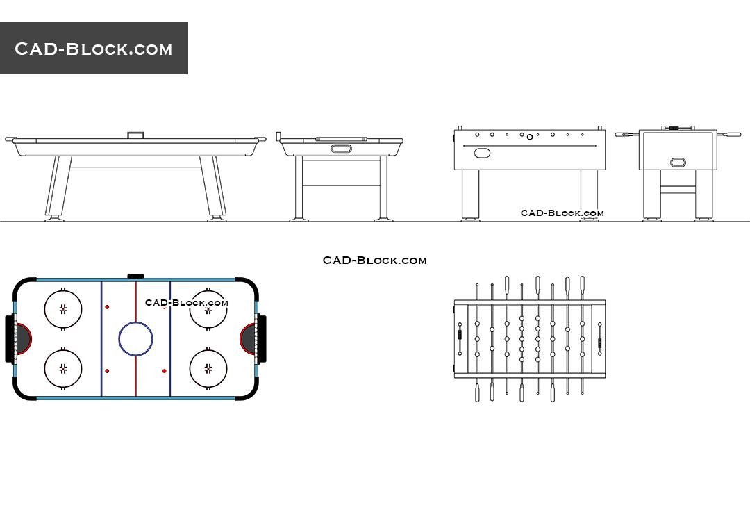 Table football & Air hockey - CAD Blocks, AutoCAD file