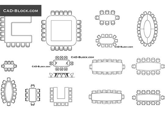 Conference Tables - download free CAD Block