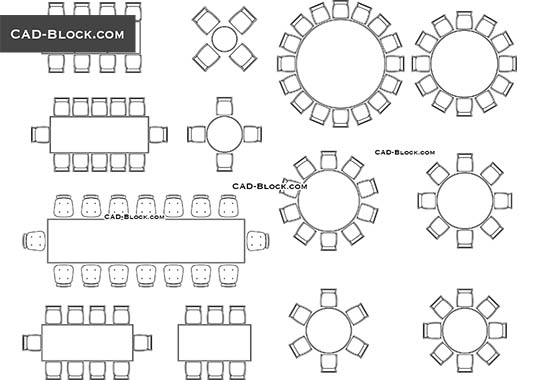Furniture for Banquet Hall - download free CAD Block