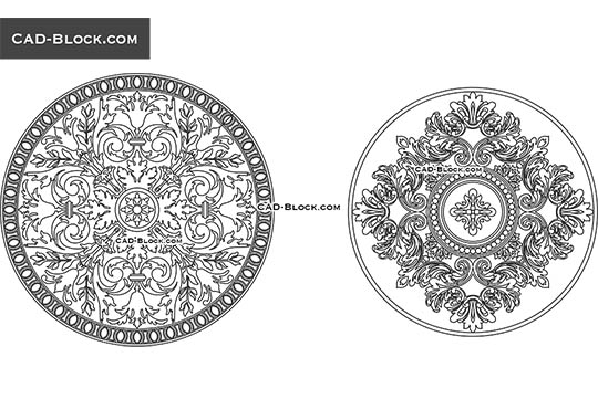 Decorative Rosettes - download free CAD Block
