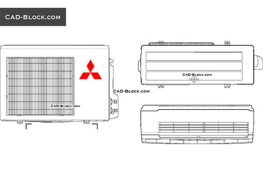 Mitsubishi Air conditioning - download free CAD Block