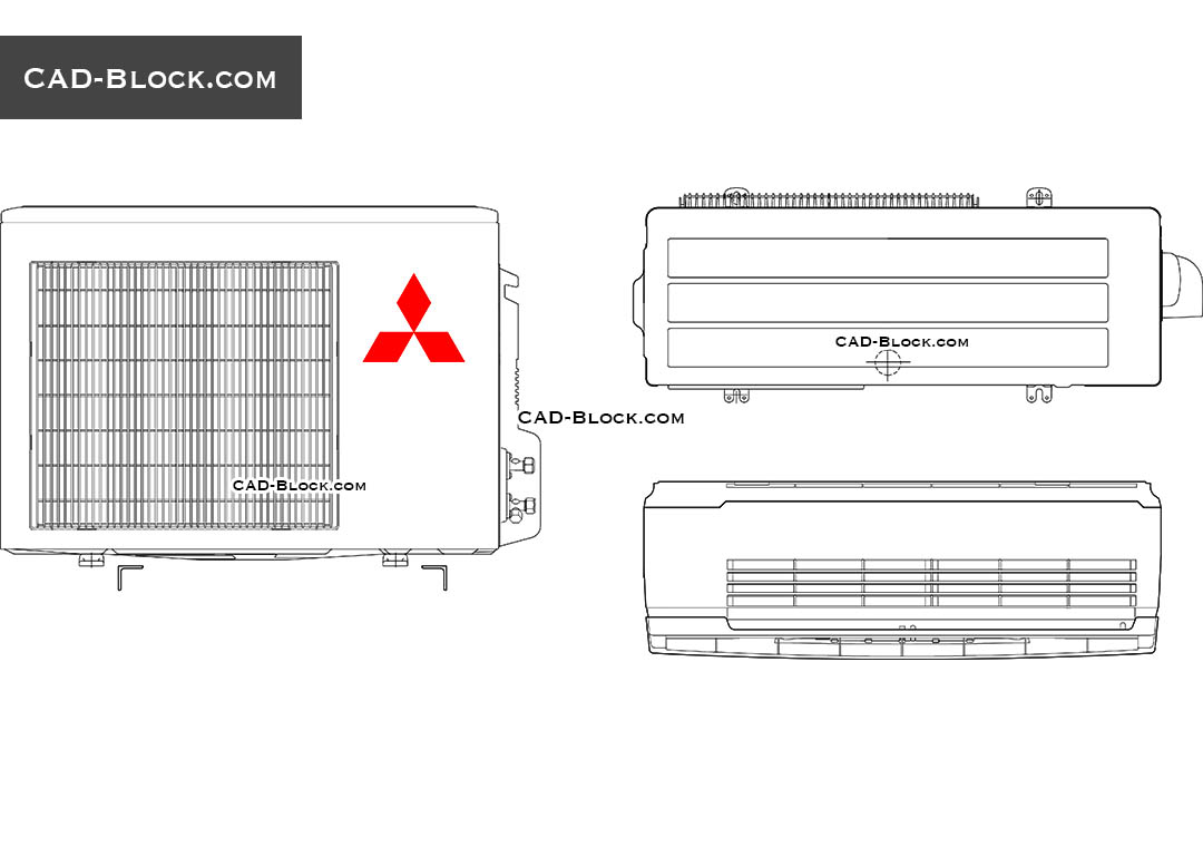 Mitsubishi Air conditioning CAD block, free AutoCAD drawings