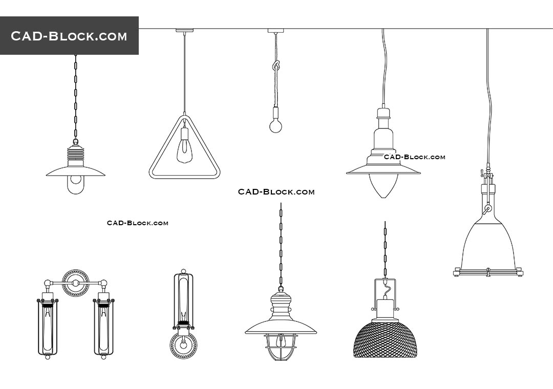 Industrial Loft Lights - CAD Blocks, AutoCAD file