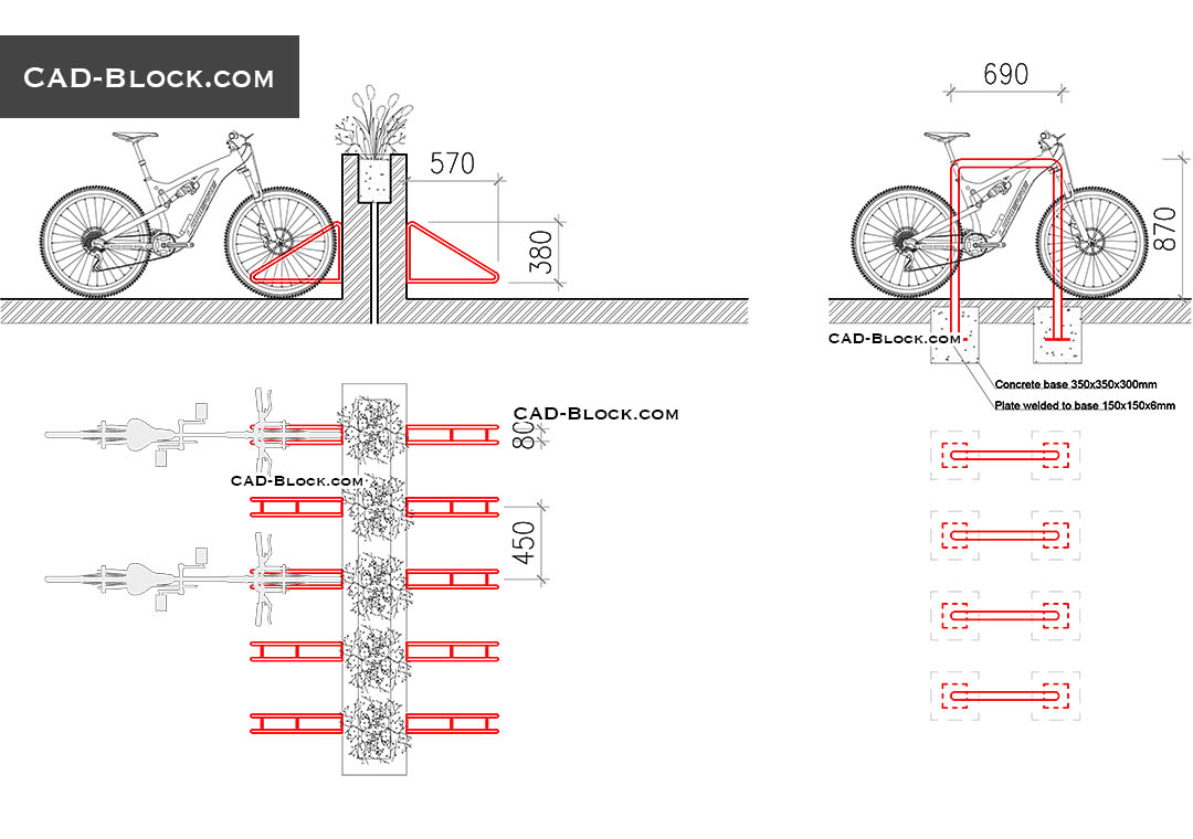 Bike Rack CAD block plan, details, free AutoCAD file download