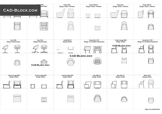 Designer Chairs 4 - download free CAD Block