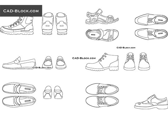 Men's Shoes - download free CAD Block