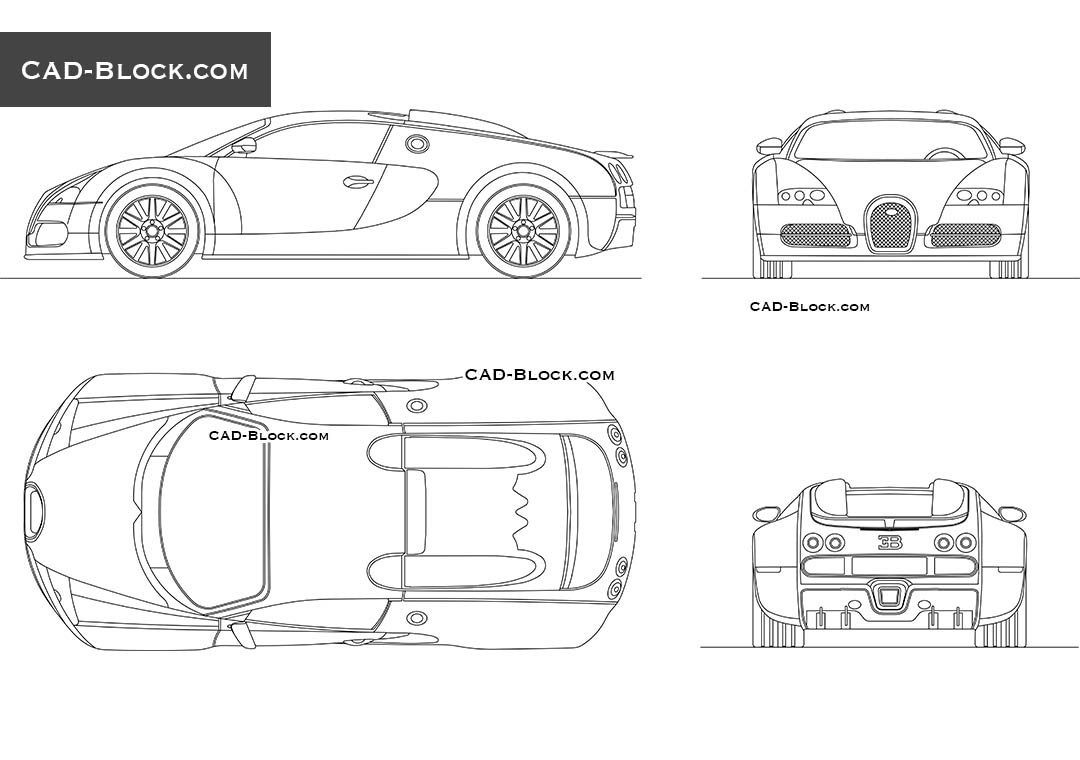 Bugatti Veyron Cad Block Autocad Drawings Free Download Front