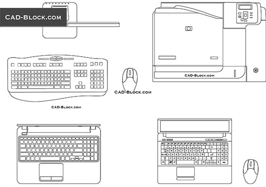 Laptop, Peripheral Devices - download free CAD Block