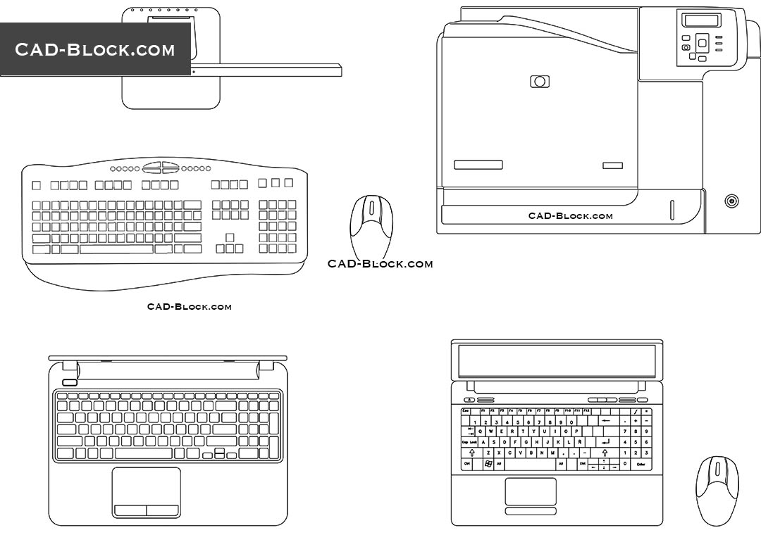 Laptop, Peripheral Devices - CAD Blocks, AutoCAD file