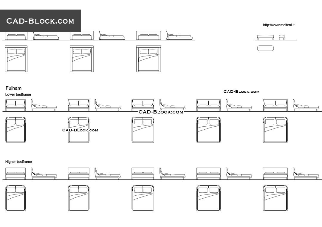 Modern Bed CAD block, free AutoCAD furniture download