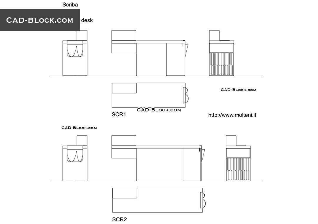 Writing Desk - CAD Blocks, AutoCAD file