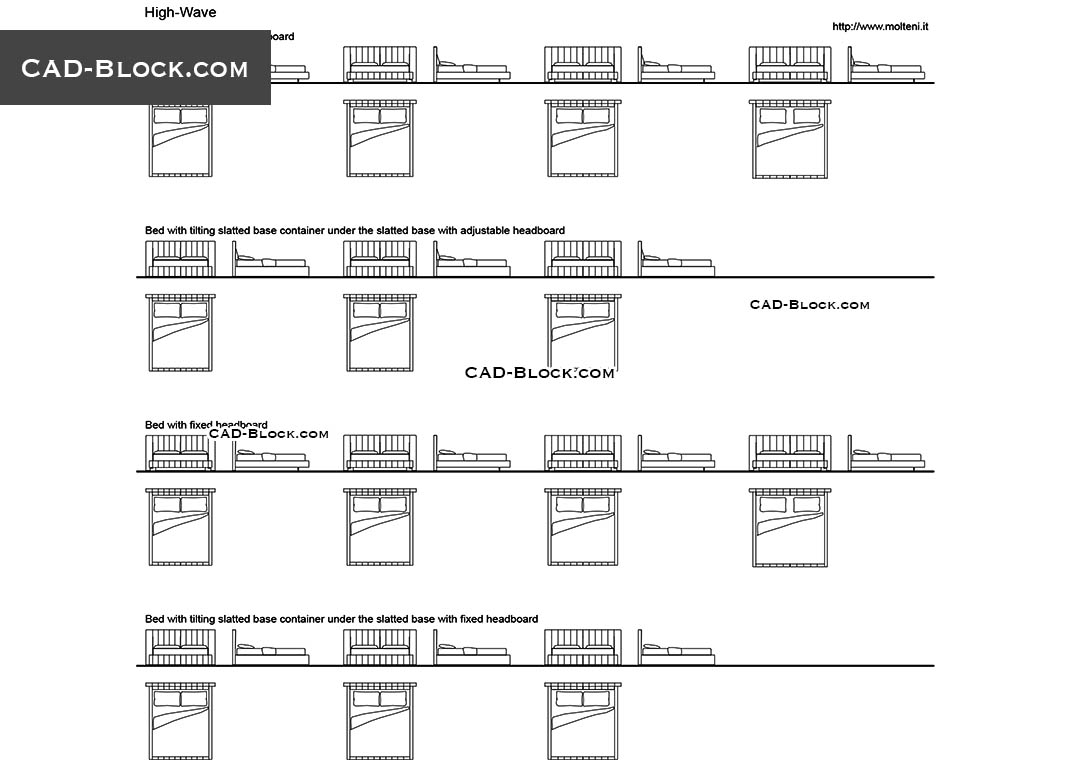 Cad Blocks Of Modern Beds Furniture Free Autocad File