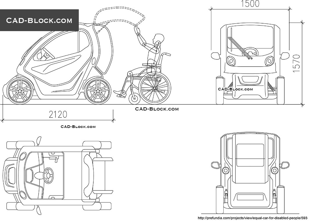Car for Disabled People - CAD Blocks, AutoCAD file