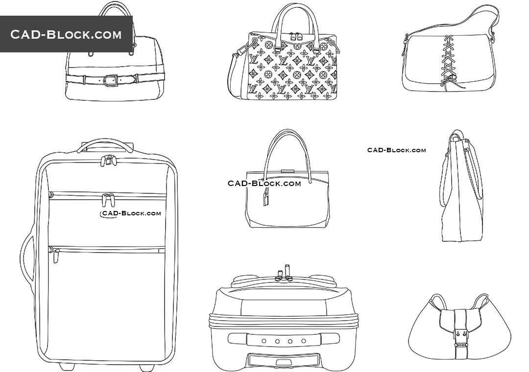 Suitcase and Bag - CAD Blocks, AutoCAD file