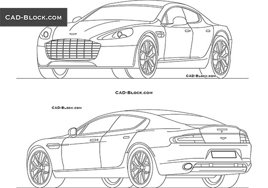 Aston Martin Rapide - download free CAD Block