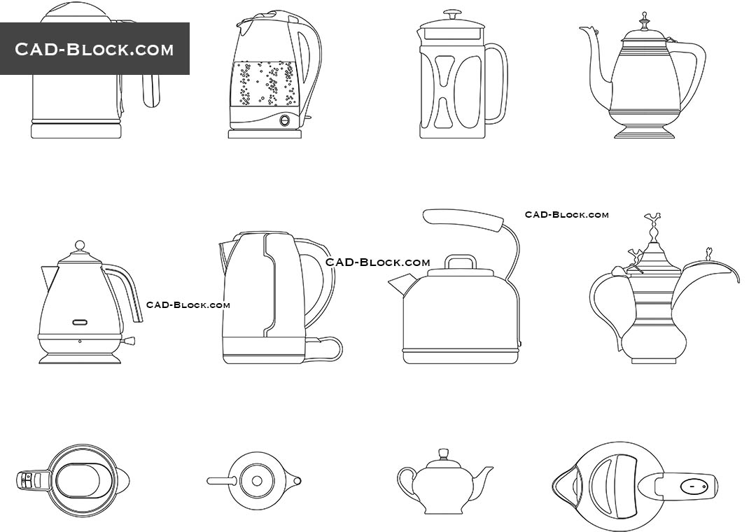 Teapot, Kettle - CAD Blocks, AutoCAD file
