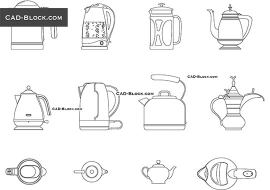 Teapot, Kettle - download free CAD Block