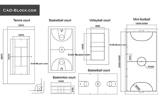 Courts, Fields - download free CAD Block