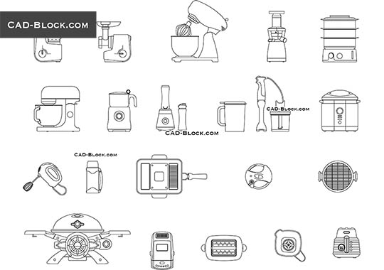Kitchen Small Appliances - download free CAD Block