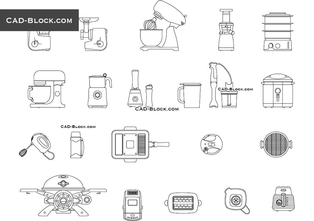 Kitchen Small Appliances Free Cad Blocks Download Autocad