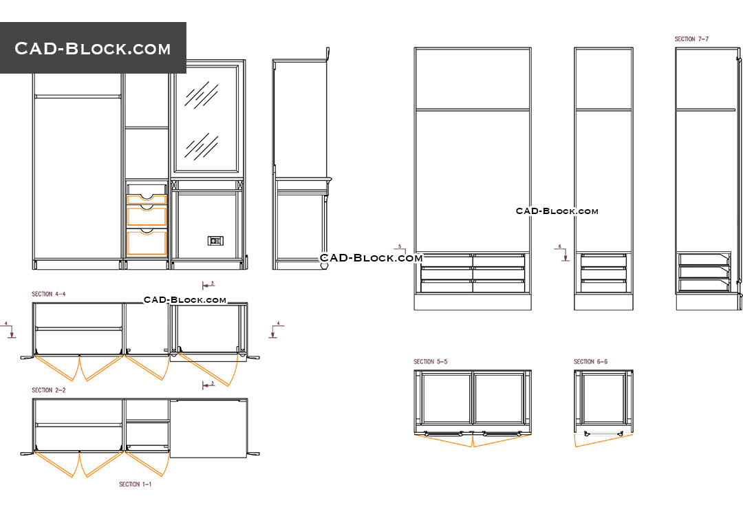 Wardrobe details CAD drawing free, download AutoCAD file