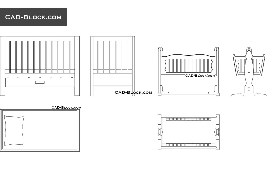 Free Cad Blocks Of Baby Cradles In Autocad 2d Dwg Models