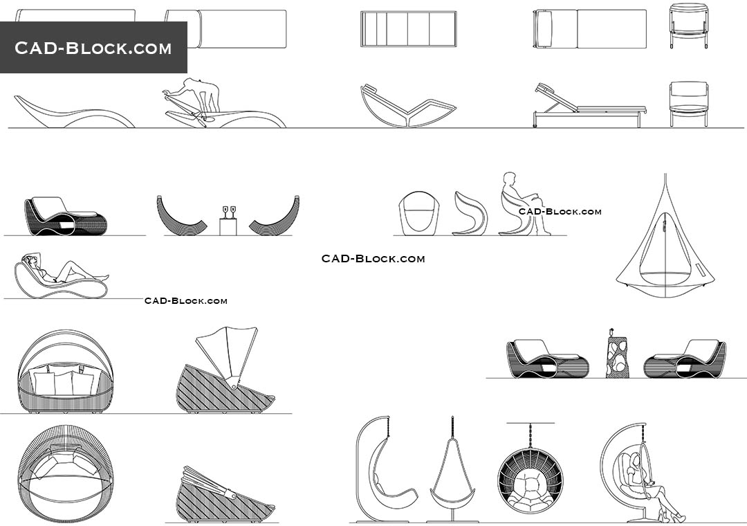 Cad Blocks Of Comfortable Outdoor Design Furniture In Autocad Download File