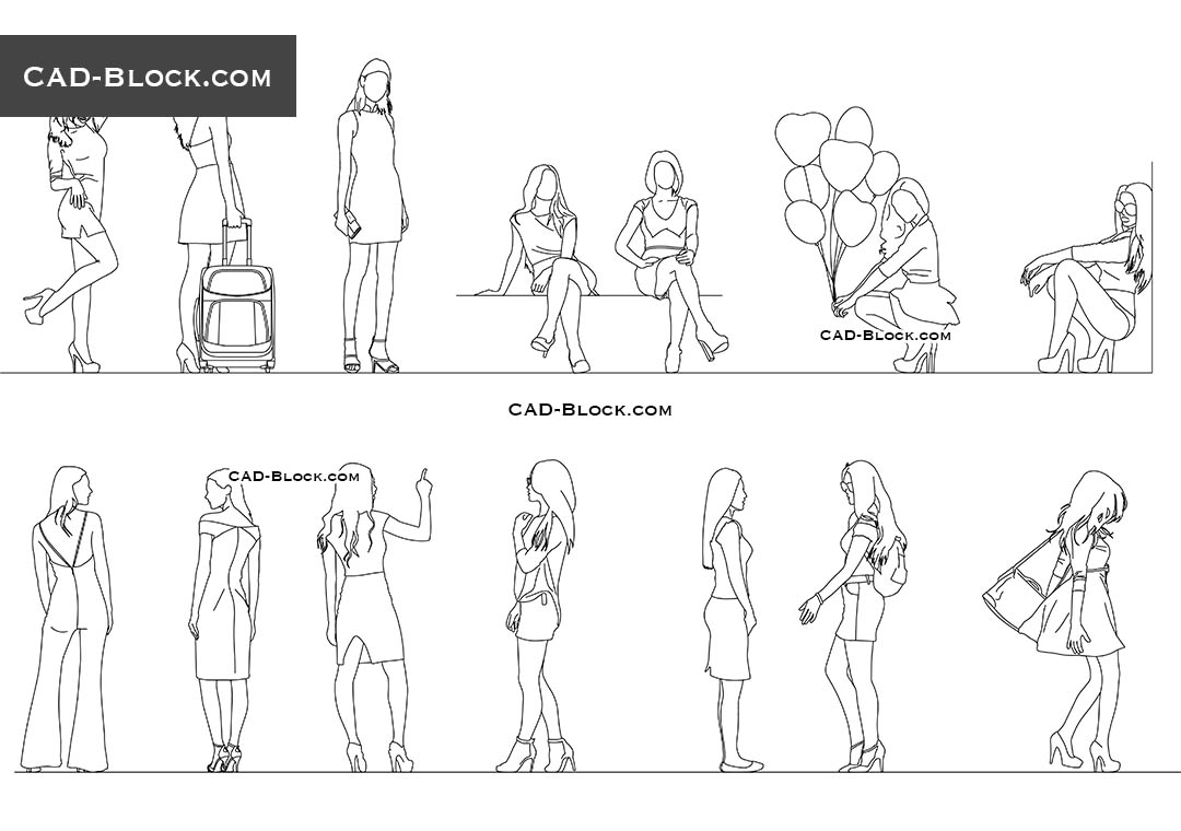 Girls. Set 1 - CAD Blocks, AutoCAD file