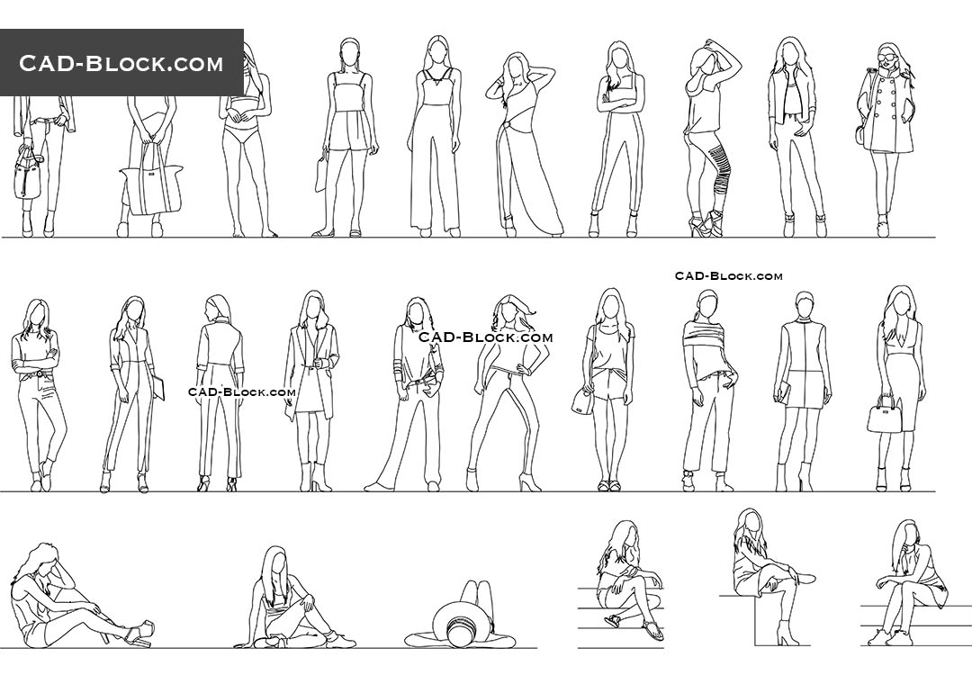 women 2d autocad library  autocad download  dwg file