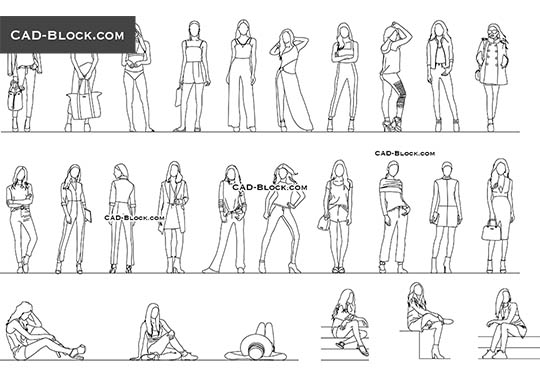 Girls. Set 2 - download free CAD Block