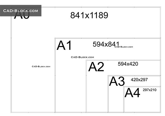 Paper sizes Dynamic Block - download free CAD Block