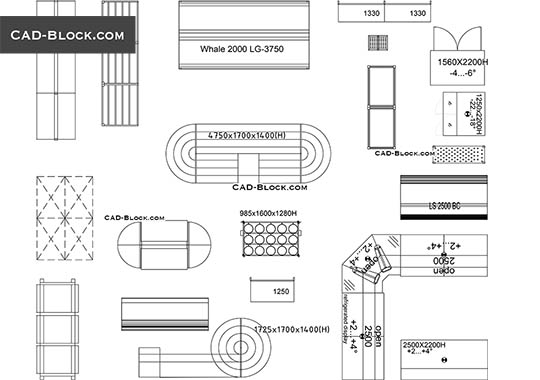 Store and Supermarket Supplies - download free CAD Block