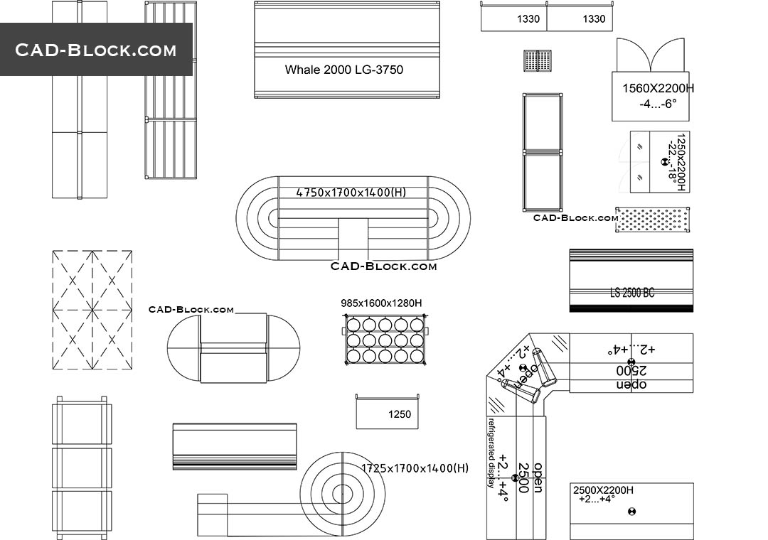 Store and Supermarket Supplies - CAD Blocks, AutoCAD file