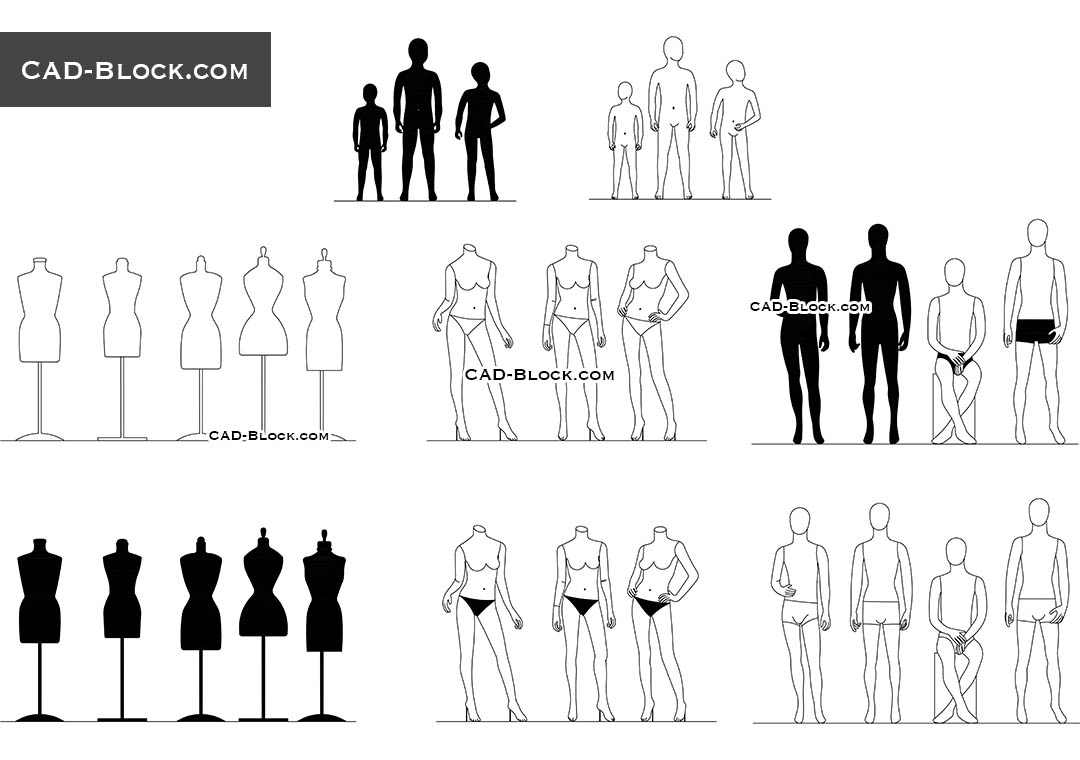 Cad Blocks Of Fashion Mannequins Autocad Drawings For