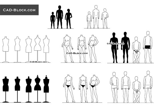 Fashion Mannequins buy AutoCAD Blocks