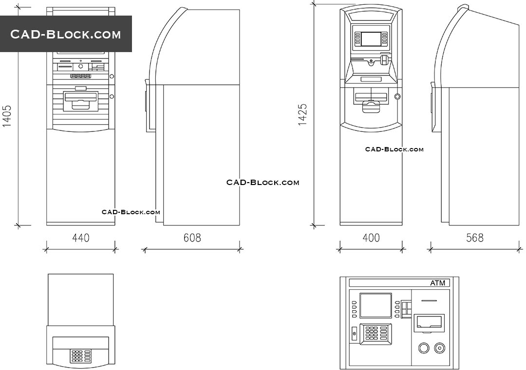 ATM Machine CAD blocks, DWG file, free AutoCAD drawings in