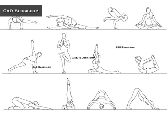 Yoga Women - download free CAD Block