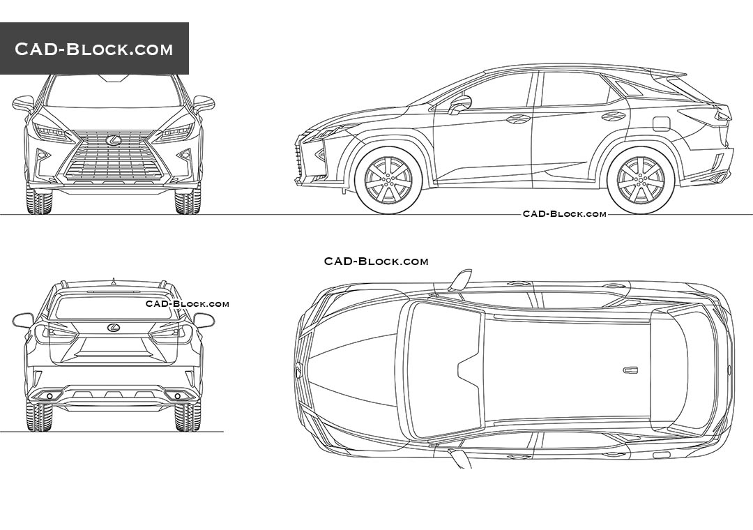Lexus rx 350 2016 car cad drawing download autocad file for Cad car plan