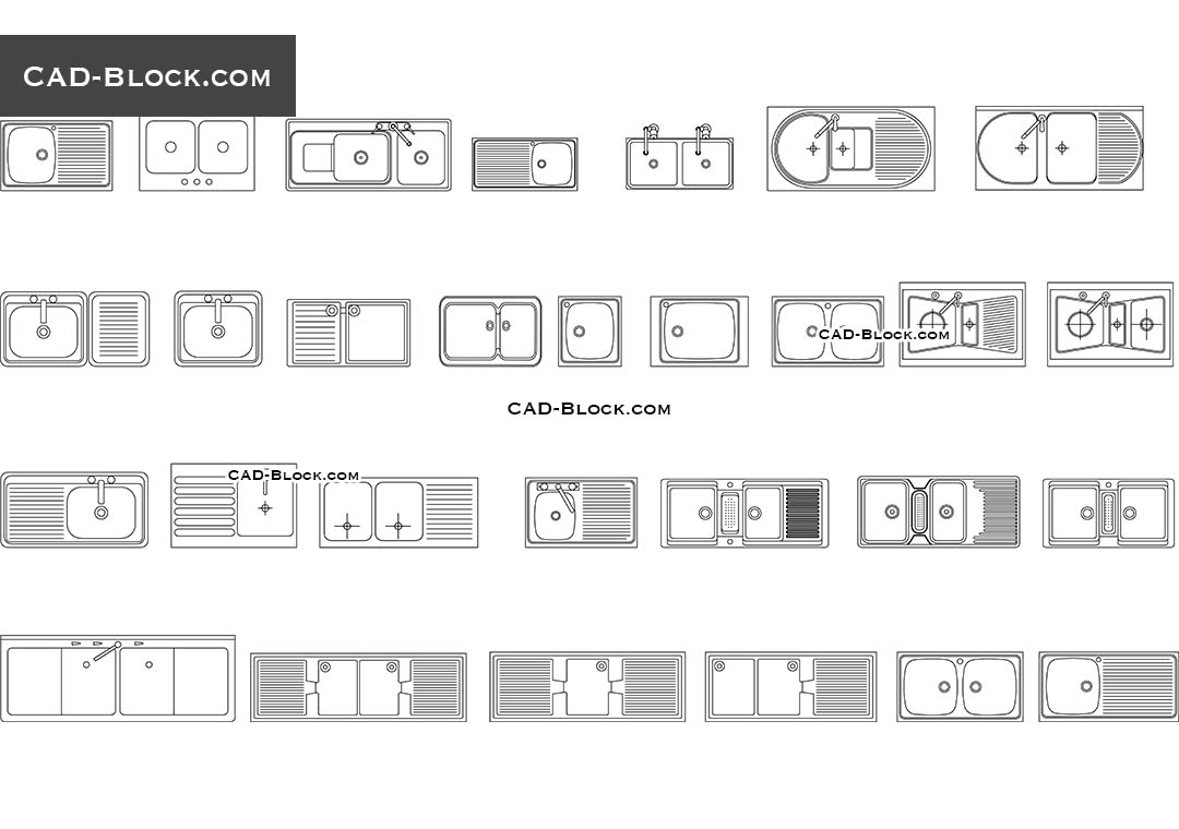 Kitchen Sink Set free AutoCAD blocks, CAD DWG file download