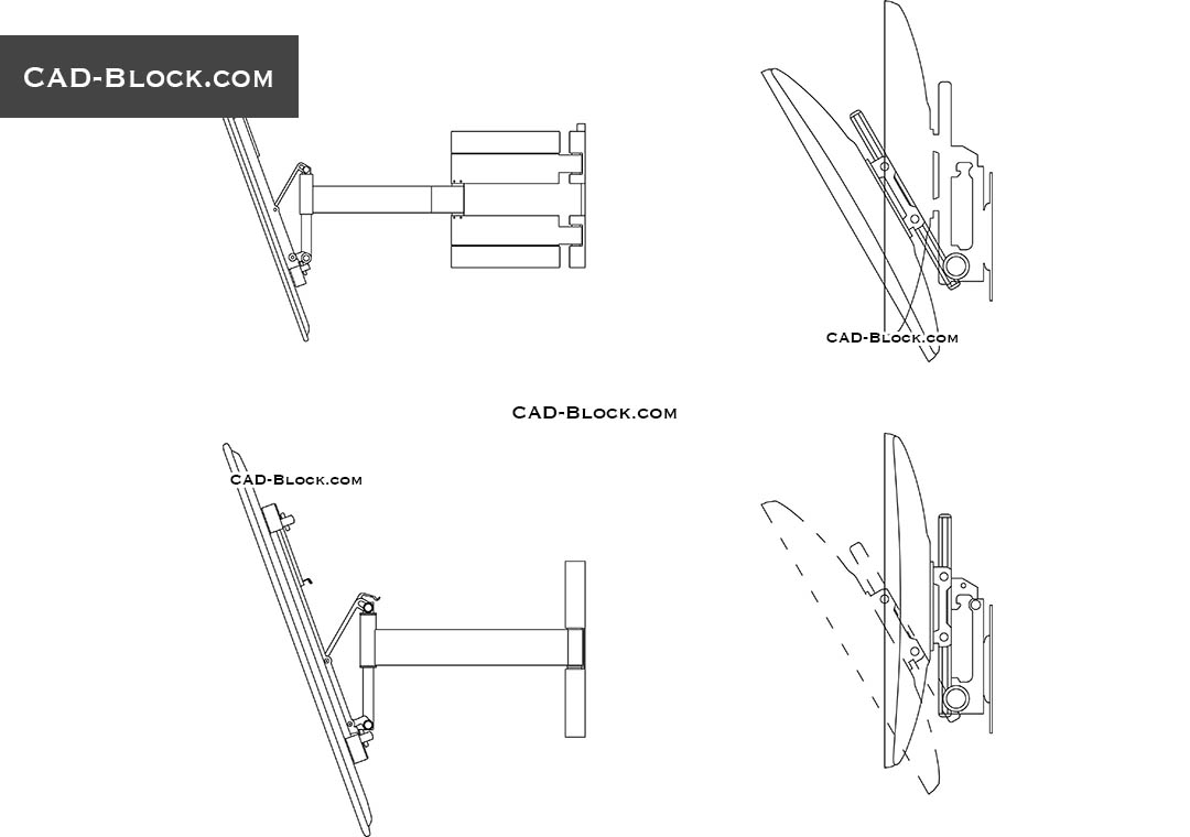 TV wall bracket DWG, CAD blocks download free