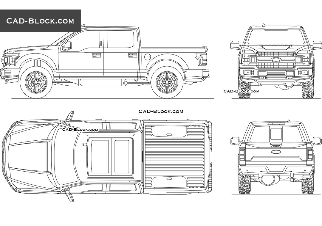 Ford F-150 XLT Cad block download, 2D model in AutoCAD
