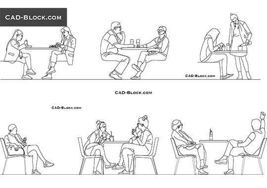 People sitting in Cafe buy AutoCAD Blocks